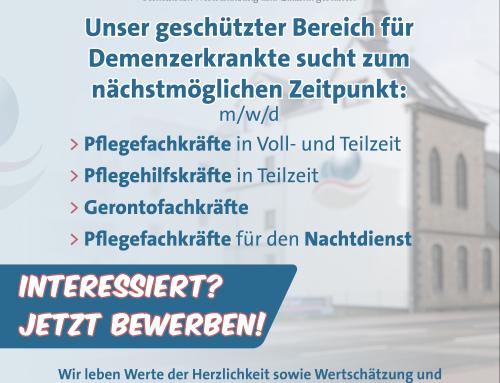 MITARBEITER FÜR DEN GESCHÜTZTEN DEMENZBEREICH GESUCHT